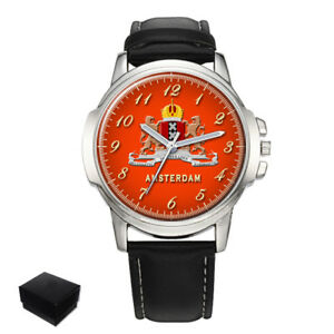 【送料無料】 腕時計 city of amsterdam coat of arms netherlands gentsmens wrist watch gift engravingcity of amsterdam coat of arms netherlands