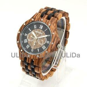【送料無料】 腕時計 6ピンシマウマモミジクオーツsixpin multifunction zebra wood maple calendar week mens quartz wooden watches