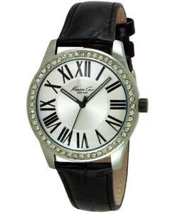 【送料無料】 腕時計 ケネスクオーツステンレススチールブラックレザーウォッチ