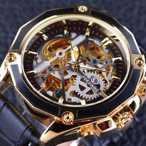 【送料無料】 腕時計 ケースギアゴールドステンレススチールwatch men transparent case gear steampunk automatic design gold stainless steel