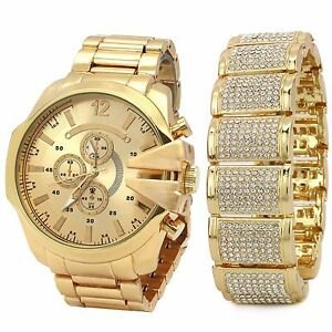 【送料無料】 腕時計 メンズkゴールドアイスヒップホップファッションドームブレスレットウォッチリストリンクmens 14k gold pt iced hip hop fashion dome fully cz bracelet amp; watch wrist li