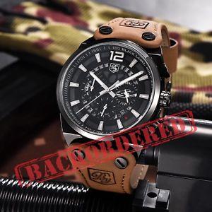 【送料無料】 腕時計 メンズスポーツクオーツアナログレザーストラップ mens sports quartz analog date display leather strap waterproof wrist watch