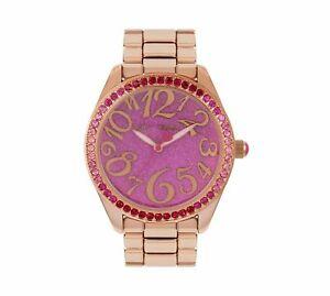 【送料無料】 腕時計 ジョンソンピンクリンクローズゴールドステンレススチールbetsey johnson pink goddess link rose gold stainless steel bj00048273