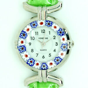 【送料無料】 腕時計 ムラーノヴェネツィアガラスストラップウォッチmurano glass quartz watch from venice with millefiori and green strap