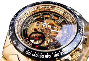 【送料無料】 腕時計 スポーツデザインゴールドスケルトンモダンデザインluxury modern sport design gold automatic skeleton men watch modern design