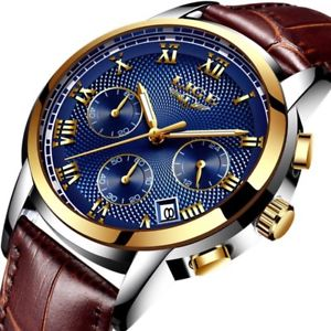 【送料無料】 腕時計 スポーツクオーツmen watch sport leather luxury gold quartz waterproof military wrist watch