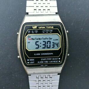 【送料無料】 腕時計 ビンテージデジタルステンレススチールミリバッテリーvintage ut unik time digital lcd stainless steel 34mm wristwatch  battery