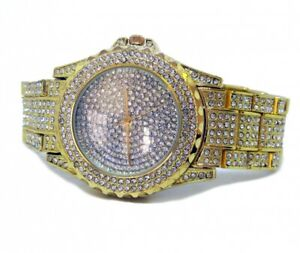 【送料無料】 腕時計 ラインストーンblingblingホップgold plated entirely on ice rhinestones wedge hip hop watch bling bling