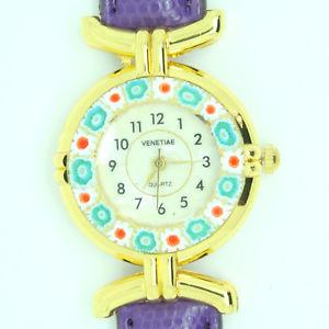 【送料無料】 腕時計 ミッレフィオーリヴェニスムラノガラスmurano glass quartz watch from venice with millefiori and purple strap