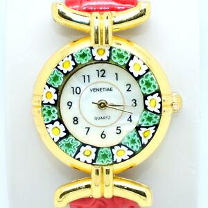 【送料無料】 腕時計 ミッレフィオーリヴェニスムラノガラスmurano glass quartz watch from venice with millefiori and red strap