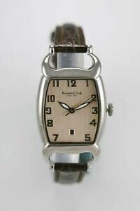 【送料無料】 腕時計 ケネスコールクオーツkenneth cole watch women stainless silver water resist brown leather date quartz