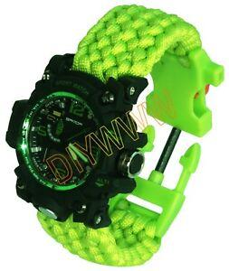 【送料無料】 腕時計 メンズスポーツアーミーアラームアナログデジタルグリーンparacord mens waterproof sport army alarm date analog digital green wrist watch