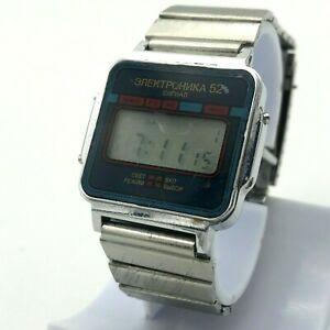 【送料無料】 腕時計 デジタルビンテージアラームソクォーツelektronika 52 signal blue digital vintage date alarm ussr original quartz watch