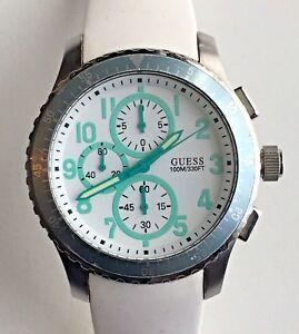 【送料無料】 腕時計 ゲスコガモステンレスクロノグラフu12651g5ギアguess geared for adventure whiteteal stainless steel chronograph watchu12651g5