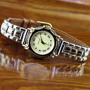 【送料無料】 腕時計 アンプステンレススチール womens armitron leather amp; stainless steel watch ~ gold amp; silver tn