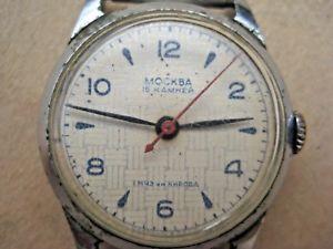 【送料無料】 腕時計 モスクワソビエトロシアソメンズmoskva kirovskie 1mchz soviet russian ussr mens wrist watch 16 jewels