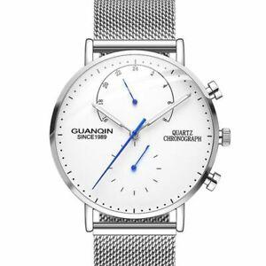 【送料無料】 腕時計 メンズクォーツシンラグジュアリークロノグラフステンレススチールメッシュウォッチmens quartz thin luxury minimal chronograph stainless steel watch guanqin mesh