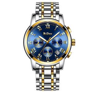 【送料無料】 腕時計 バイデンメンズミリタリースポーツクロノグラフステンレススチールストラップクォーツbiden mens military sport chronograph date stainless steel strap quartz watch