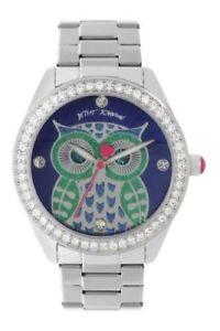 【送料無料】 腕時計 ジョンソンフクロウシルバートーンレディースbetsey johnson exclusive owl silver tone crystal watch ladies