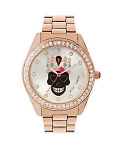 【送料無料】 腕時計 ベッツィージョンソンローズゴールドbetsey johnson exclusive skull rose gold tone crystal watch