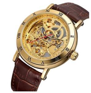 【送料無料】 腕時計 ビンテージファッションレザースケルトンウォッチmen luxury automatic transparent hollow vintage fashion leather skeleton watch