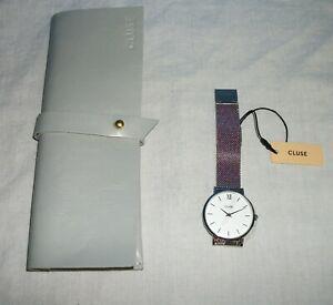 【送料無料】 腕時計 ステンレスメッシュアナログウォッチcluse minuit silver, whitetone stainless steel mesh womens analog watch