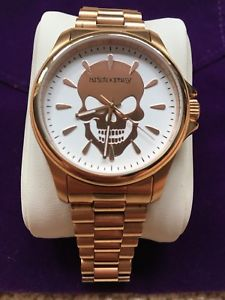 【送料無料】 腕時計 ローズゴールドトーンスカルステンレススチールウォッチaristocrazy rose gold tone skull stainless steel watch