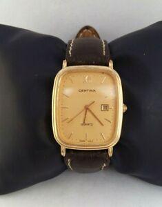 【送料無料】 腕時計 ヴィンテージゴールドスイスcertina vintage watch gold plated 1980s quartz men date swiss