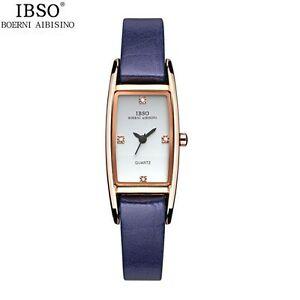 【送料無料】 腕時計 ストラップラインストーンibso women genuine leather strap waterproof rhinestone decoration wristwatch