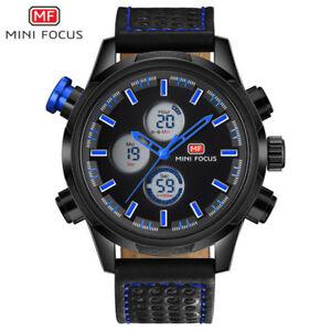 【送料無料】 腕時計 ブランドアナログデジタルスポーツクォーツminifocus brand men military analog date digital leather sports quartz watches