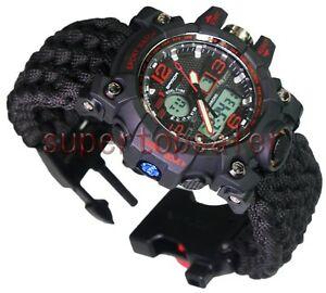 【送料無料】 腕時計 スポーツスイミングデュアルブレスレットred military paracord survival sport swimming dual wrist watch tactical bracelet