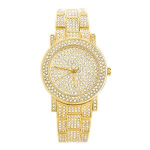【送料無料】 腕時計 アイスゴールドベゼルwomens ladys iced out gold silver plated fully cz bezel watches wm 1576