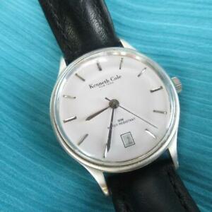 【送料無料】 腕時計 ケネスメンズブラックレザーストラップラウンドアナログニーズバッテリ