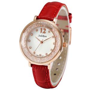 【送料無料】 腕時計 ファッションカジュアルアナログウォッチjaderose fashion women genuine leather casual watch luxury analog crystal watch