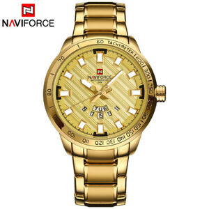 【送料無料】 腕時計 naviforceステンレスカレンダーnaviforce men luxury stainless steel quartz watch calendar waterproof gold watch