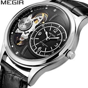【送料無料】 腕時計 メンズレザーミリタリークオーツアナログクロノグラフウォッチmegir mens leather military quartz analog chronograph watch 30m waterproof