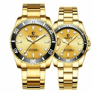【送料無料】 腕時計 カップル2アナログセットfashion couple golden stainless waterproof analog quartz watch gifts set of 2