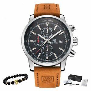 【送料無料】 腕時計 メンズブランドファッションクロノグラフスポーツウォッチmens luxury brand quartz watch fashion chronograph watch sports wrist leather