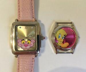 【送料無料】 腕時計 ピンクパンサーcollectible watches pink panther tweety bird 2 wristwatches leather armitron