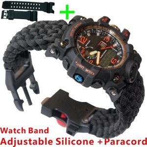 【送料無料】 腕時計 オレンジディジタルクオーツクロノグラフparacord
