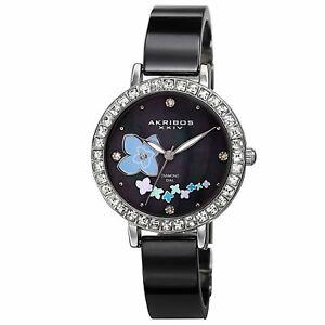 【送料無料】 腕時計 スイスフラワーデザインセラミックブレスレット womens akribos xxiv ak762ssb swiss mop flower design ceramic bracelet watch