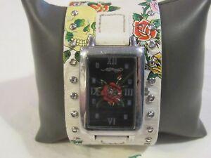 【送料無料】 腕時計 ed hardy womensホワイトleather rose f68ed hardy womens temptress white leather rose f68