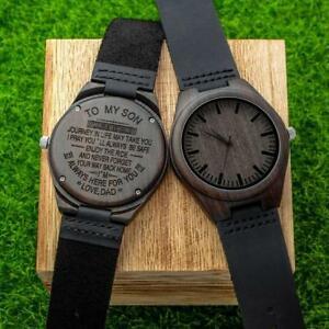 【送料無料】 腕時計 エボニーウッドレザーウォッチパーソナライズhandmade creative ebony wood amp; leather watch w personalized greeting engraving