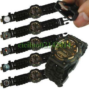 【送料無料】 腕時計 ファッションデュアルタイムデジタルスポーツfashion dual time digital military army men sport paracord led swim wrist watch