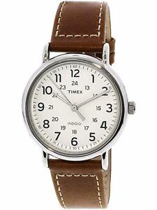 【送料無料】 腕時計 メンズウィークエンダーシルバーレザーアナログクォーツファッションウォッチtimex mens weekender 40 tw2r42400 silver leather analog quartz fashion watch