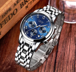 【送料無料】 腕時計 クロノグラフman watch waterproof lige chronograph 3 atm quartz wrist steel or leather