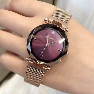 【送料無料】 腕時計 レディースクリスタルマグネットバックルクオーツステンレススチールウォッチ