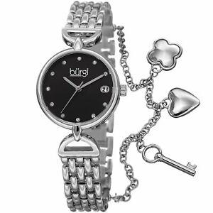 【送料無料】 腕時計 バールスワロフスキーマーカーブレスレットwomens burgi bur172ssb swarovski hour marker date three charm bracelet watch
