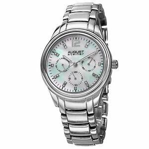【送料無料】 腕時計 パール8シュタイナーas8076sswomens august steiner as8076ss elegant mother of pearl crystal bracelet watch