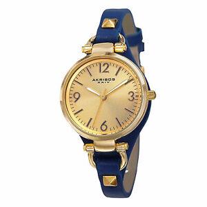 【送料無料】 腕時計 スイスクオーツレザーストラップウォッチwomens akribos xxiv ak761bu swiss quartz decorated thin leather strap watch